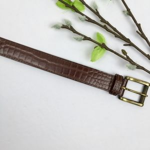 Accessories - Brown LEATHER Embossed Snakeskin Belt Size 38